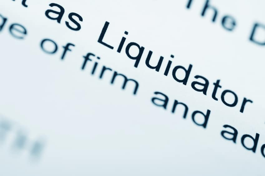 official letter from companies liquidator